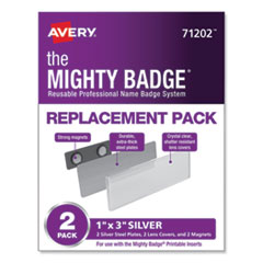 The Mighty Badge, Horizontal, 1 x 3, Holders Only, Silver, 2/Pack