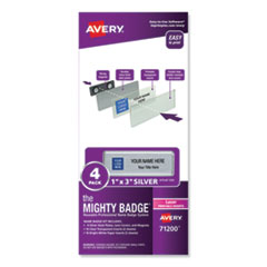 The Mighty Badge, Horizontal, 1 x 3, Laser, Silver, 4 Holders/32 Inserts