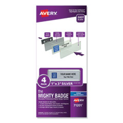 The Mighty Badge Name Badge Holder Kit, Horizontal, 3 x 1, Inkjet, Silver, 4 Holders/32 Inserts