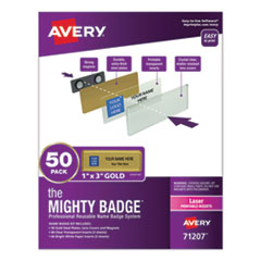 The Mighty Badge Name Badge Holder Kit, Horizontal, 3 x 1, Laser, Gold, 50 Holders/120 Inserts