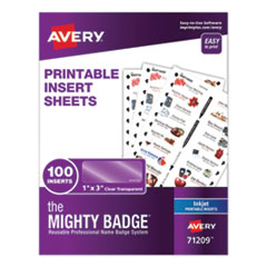 The Mighty Badge, 1 x 3, Clear, Inkjet, Inserts Only, 100/Pack