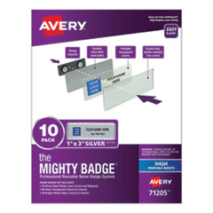 The Mighty Badge, Horizontal, 1 x 3, Inkjet, Silver, 10 Holders/ 80 Inserts