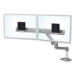 "LX Dual Direct Monitor Arm, For 25"" Monitors, 360 deg Rotation, 30 deg Tilt, 360 deg Pan, Polished Aluminum, Supports 11 lb"