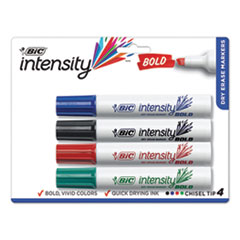Intensity Bold Tank-Style Dry Erase Marker, Broad Chisel, Assorted Colors, 4/Set