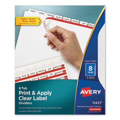 Print and Apply Index Maker Clear Label Dividers, 8 White Tabs, Letter, 5 Sets