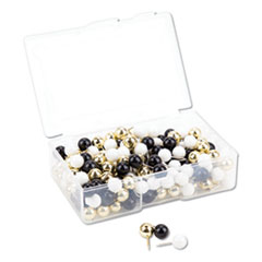 "Fashion Sphere Push Pins, Plastic, Assorted, 7/16"", 200/Pack"