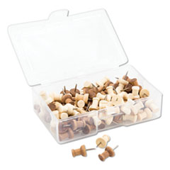 "Fashion Push Pins, Wood, Assorted, 3/8"", 100/Pack"