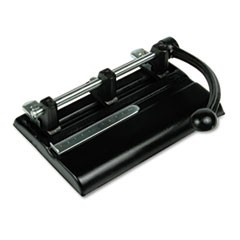 "140-Sheet Lever Action Two- to Seven-Hole Punch, 13/32"" Holes, Black"