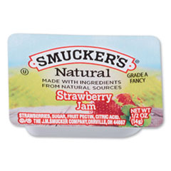 Smuckers 1/2 Ounce Natural Jam, 0.5 oz Container, Strawberry, 200/Carton