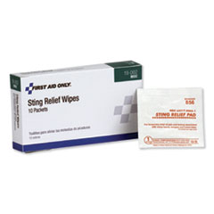 1First Aid Sting Relief Pads, 10/Box