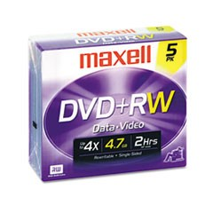 DVD+RW Discs, 4.7GB, 4x, w/Jewel Cases, Silver, 5/Pack