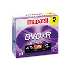 1DVD+R Discs, 4.7GB, 16x, w/Jewel Cases, Silver, 5/Pack