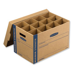 "1SmoothMove Kitchen Moving Kit, Medium, Half Slotted Container (HSC), 18.5"" x 12.25"" x 12"", Brown Kraft/Blue"