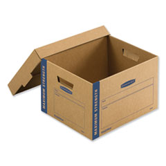 "1SmoothMove Maximum Strength Moving Boxes, Medium, Half Slotted Container (HSC), 18.5"" x 12.25"" x 12"", Brown Kraft/Blue, 8/PK"