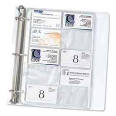 1Business Card Binder Pages, Holds 20 Cards, 8 1/8 x 11 1/4, Clear, 10/Pack