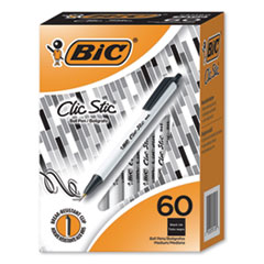 1Clic Stic Retractable Ballpoint Pen, Medium 1.2 mm, Black Ink, White Barrel, 60/Pack