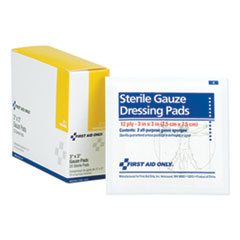 "1Gauze Dressing Pads, 3"" x 3"", 10/Box"