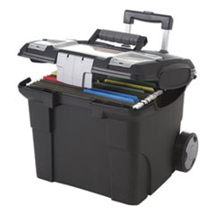 Premium File Cart, 15w x 16.38d x 14.25 to 30h, Black