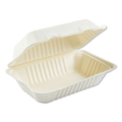 Bagasse Molded Fiber Food Containers, Hinged-Lid, 1-Compartment 9 x 6 x 3.19, White, 125/Sleeve, 2 Sleeves/Carton
