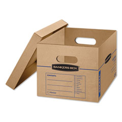 "SmoothMove Classic Moving & Storage Boxes, Small, Half Slotted Container (HSC), 15"" x 12"" x 10"", Brown Kraft/Blue, 15/Carton"