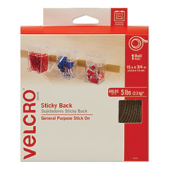 "1Sticky-Back Fasteners with Dispenser, Removable Adhesive, 0.75"" x 15 ft, Beige"