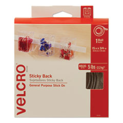 Sticky-Back Hook and Loop Fastener Tape with Dispenser, 3/4 x 15 ft. Roll, White