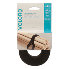 "One-Wrap� Reusable Ties, 3/4"" x 12 ft., Black"