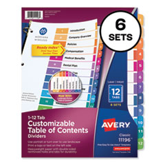 Customizable TOC Ready Index Multicolor Dividers, 12-Tab, Letter, 6 Sets