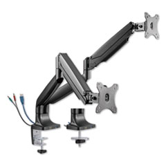 "AdaptivErgo Dual Monitor Arm with USB, For 27"" Monitors, 180 deg Rotation, 30 deg Tilt, 135 deg Pan, Black, Supports 11 lb"