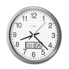 "1Chronicle Wall Clock with LCD Inset, 14"" Overall Diameter, Gray Case, 1 AA (sold separately)"