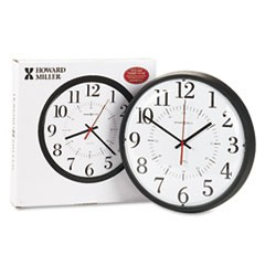 "1Alton Auto Daylight Savings Wall Clock, 14"" Overall Diameter, Black Case, 1 AA (sold separately)"