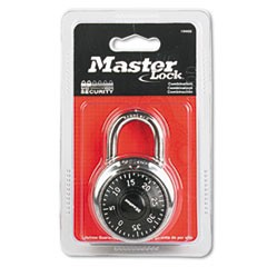"Combination Lock, Stainless Steel, 1 7/8"" Wide, Black Dial"