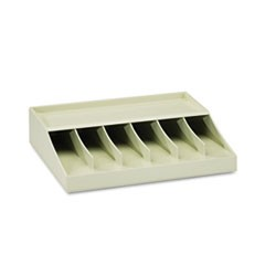 "Bill Strap Rack, 6 Pockets, 10-5/8"" w x 8-5/16"" d x 2-5/16"" h, Putty"