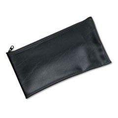 Leatherette Zippered Wallet, Leather-Like Vinyl, 11w x 6h, Black