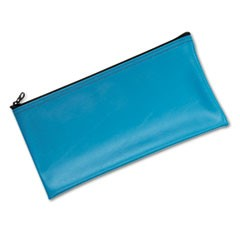1Leatherette Zippered Wallet, Leather-Like Vinyl, 11w x 6h, Marine Blue