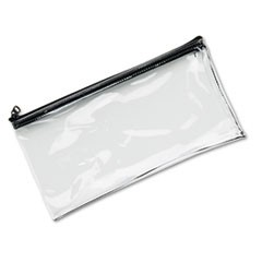 1Leatherette Zippered Wallet, Leather-Like Vinyl, 11w x 6h, Clear