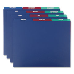 Poly Top Tab File Guides, 1/3-Cut Top Tab, January to December, 8.5 x 11, Assorted Colors, 12/Set