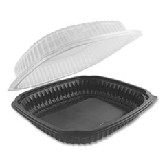 Culinary Lites Microwavable Container, 47.5 oz, 10.56 x 9.98 x 3.18, Clear/Black, 100/Carton