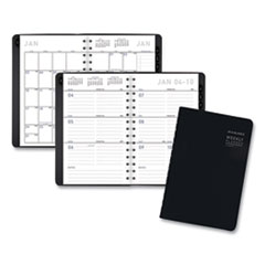 Contemporary Weekly/Monthly Planner, Block, 8.5 x 5.5, Black Cover, 2021
