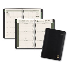 Recycled Weekly/Monthly Appointment Book, 8.5 x 5.5, Black, 2021