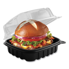 Culinary Basics Microwavable Container, 18 oz, 6.36 x 6.18 x 2.96, Clear/Black, 420/Carton