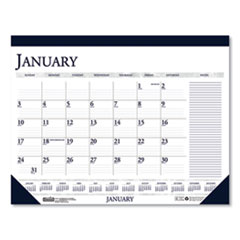 Recycled Two-Color Monthly Desk Calendar with Large Notes Section, 18.5 x13, 2021