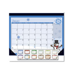 Earthscapes Seasonal Desk Pad Calendar, 22 x 17, Illustrated Holiday, 2021