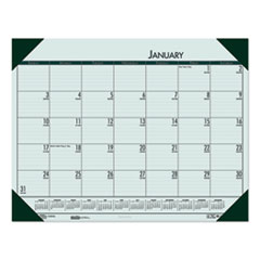 Recycled EcoTones Woodland Green Monthly Desk Pad Calendar, 22 x 17, 2021
