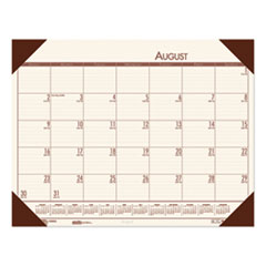 Recycled EcoTones Academic Desk Pad Calendar, 18.5 x 13, Brown Corners, 2020-2021