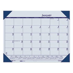 Recycled EcoTones Ocean Blue Monthly Desk Pad Calendar, 22 x 17, 2021