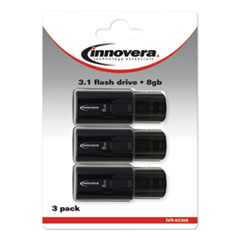 USB 3.0 Flash Drive, 8 GB, 3/Pack