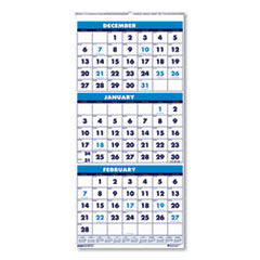 Recycled Three-Month Format Wall Calendar, 8 x 17, 14-Month (Dec-Jan) 2020-2022