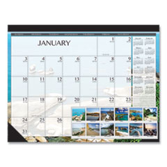 100% Recycled Earthscapes Seascapes Desk Pad Calendar, 22 x 17, 2021