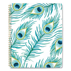 Peacock Weekly/Monthly Planner, 11 x 8.5, White/Green/Blue, 2021